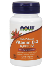 NOW Vitamin D-3 5000 IU High Potency 120 Softgels