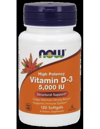 NOW Vitamin D-3 5000 IU High Potency 120 Softgels