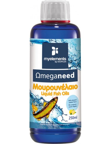 MY ELEMENTS Omeganeed Μουρουνέλαιο liquid fish oils Lemon Flavor 250ml