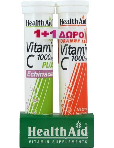 HEALTH AID Vitamin C 1000mg PLUS Echinacea 20tabs + Vitamin C 1000mg Orange 20tabs