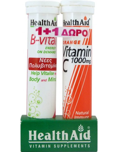 HEALTH AID B Vital Energy On Demand 20 tabs + Vitamin C 1000mg Orange 20 tabs