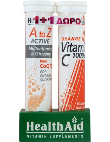 HEALTH AID A to Z ACTIVE Multivitamins & Ginseng with CoQ10 20 Tabs + Vitamin C 1000mg Orange 20 tabs