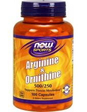 NOW L-Arginine & Ornithine 500mg / 250mg 100 Caps