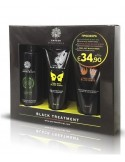 Garden of Panthenols Black Treatment Set, Peel-Off Mask 75ml + Exfoliating Scrub 150ml + Cleansing Oil 150ml