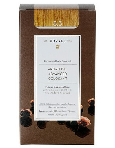 KORRES Argan Oil Advanced Colorant 8.3 Ξανθό Ανοικτό Μελί, 50ml