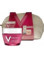 VICHY Idealia 50ml για Ξηρές επιδερμίδες σε Νεσεσέρ με ΔΩΡΟ Mineral 89 booster 5ml & Double Glow Peel Mask 15ml