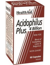 HEALTH AID Acidophilus Plus 4 Billion with FOS, 60 Vegeterian Caps