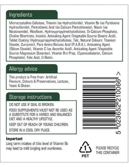 NATURES AID Vitamin B Complex 100 Time Release, 60 tabs