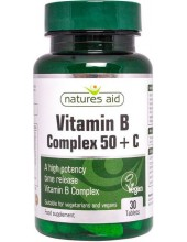 NATURES AID Vitamin B Complex 50 with Vitamin C, Time Release, 30 tabs