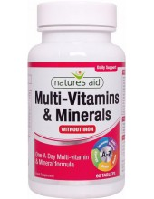 NATURES AID Multi-Vitamins & Minerals without Iron, 60 tabs