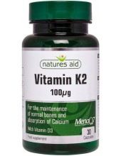 NATURES AID Vitamin K2 100μg (MenaQ7) with Vitamin D3, 30 Veg.caps