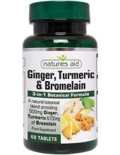 NATURES AID Ginger, Turmeric & Bromelain, 60 tabs