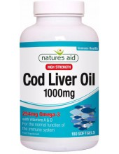 NATURES AID Cod Liver Oil High Strength 1000mg, 254mg Omega-3, 180 caps