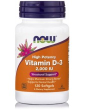 NOW Vitamin D-3 2000 IU High Potency 120 Softgels