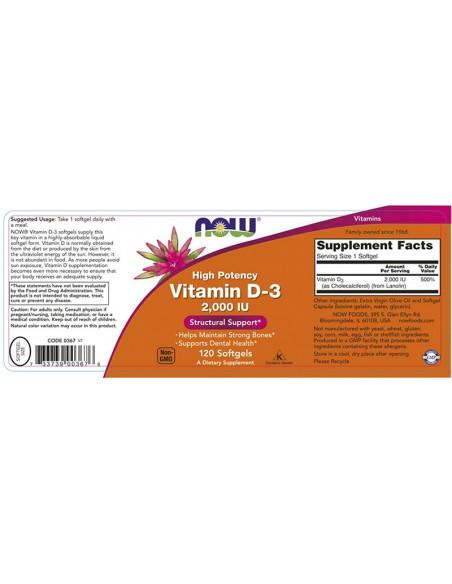 NOW Vitamin D-3 2000 IU High Potency 120 Softgels