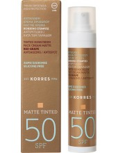 KORRES Sunscreen Face Cream Matte Tinted Red Grape Antiageing Antispot 50 SPF 50ml