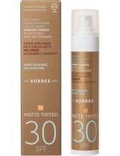 KORRES Sunscreen Face Cream Matte Tinted Red Grape Antiageing Antispot SPF 30, 50ml