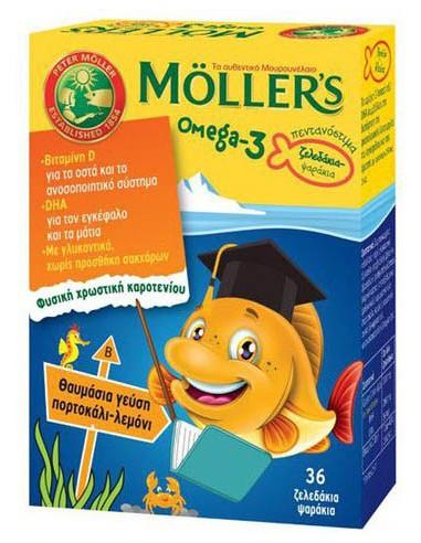 MOLLER'S Omega-3 Fish 36 ζελεδάκια ψαράκια Πορτοκάλι - Λεμόνι