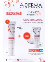 A-DERMA Protect Fluide Invisible 50+, 40ml & Protect AH Lait Reparateur Apres-Soleil 100ml