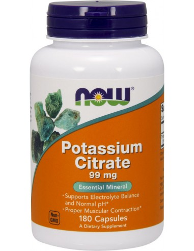 NOW Potassium Citrate 99 mg 180 Veg Caps