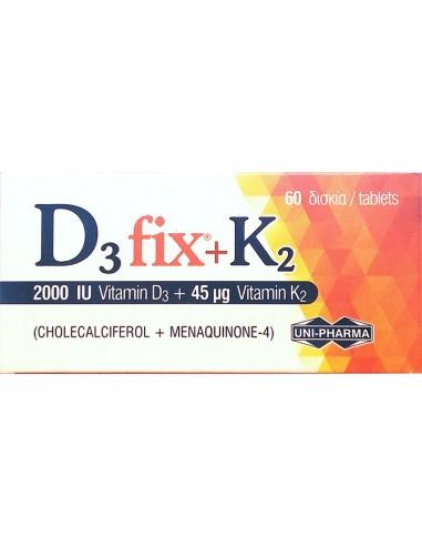 UNI-PHARMA D3 Fix 2000IU + K2 45μg, 60 Tabs