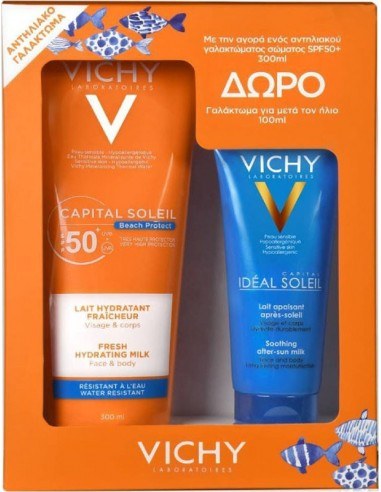 VICHY Capital Soleil Beach Protect Fresh Hydrating Milk for Face & Body SPF50+, 300ml & ΔΩΡΟ Ideal Soleil After Sun Milk 100ml