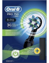 ORAL-B Pro 750 3D Action CrossAction Black Edition with Travel Case