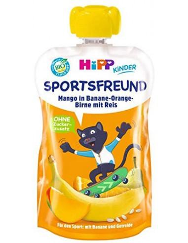 Hipp Kinder Sport Μάνγκο, Μπανάνα, Πορτοκάλι, Αχλάδι & Ρύζι 120gr