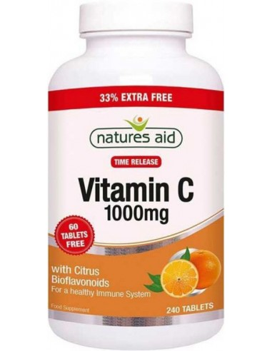 NATURES AID Vitamin C 1000mg Time Release, with Citrus Bioflavonoids, 240 tabs