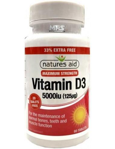 NATURES AID Vitamin D3 5000iu, 80 tabs