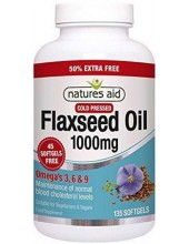 NATURES AID Flaxseed Oil 1000mg Cold Pressed, Omega 3, 6 + 9, 135 softgels