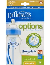 Dr.BROWN'S Natural Flow Options, Πλαστικό Μπιμπερό με Φαρδύ Λαιμό & Θηλή Σιλικόνης 270ml