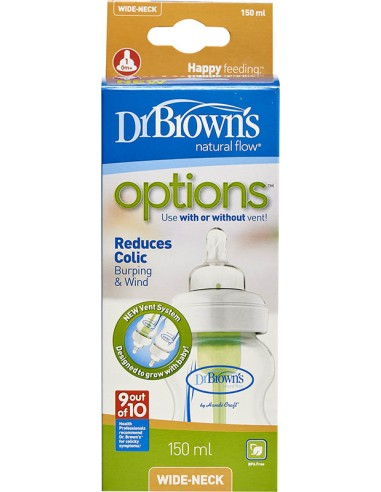 Dr.BROWN'S Natural Flow Options, Πλαστικό Μπιμπερό με Φαρδύ Λαιμό & Θηλή Σιλικόνης 150ml