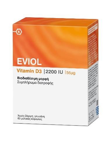 EVIOL Vitamin D3 2200iu 55mcg, 60 SoftCaps