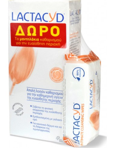 LACTACYD Intimate Washing Lotion 300ml + ΔΩΡΟ Intimate Wipes 15 pcs
