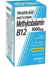 HEALTH AID B12 1000μg Methylcobalamin 60 Vegan Tabs