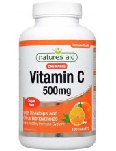 NATURES AID Vitamin C 500mg, Chewable with Rosehips & Citrus Bioflavonoids, 100 tabs