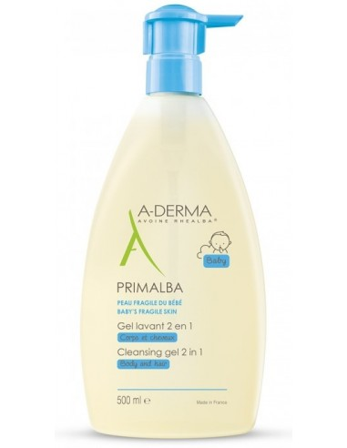 A-DERMA Primalba Bebe Gel Lavant, Corps & Cheveux, 500ml