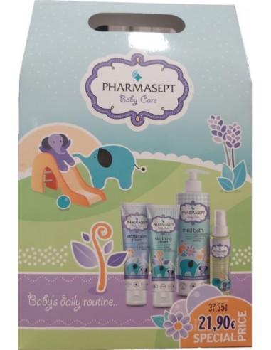 PHARMASEPT Baby Care Baby's Daily Rountine Pack, mild bath 500ml, soothing cream 150ml, calm cream 150ml, natural oil 100ml