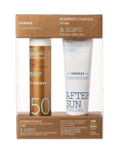 KORRES Red Grape Antiageing Antispot SPF 50 Sunscreen Face Cream 50ml & Free KORRES After Sun Cooling 50ml, GIFT SET