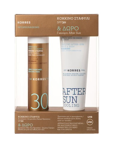KORRES Red Grape Antiageing Antispot SPF 30 Sunscreen Face Cream 50ml & Free KORRES After Sun Cooling Cream 50ml, GIFT SET