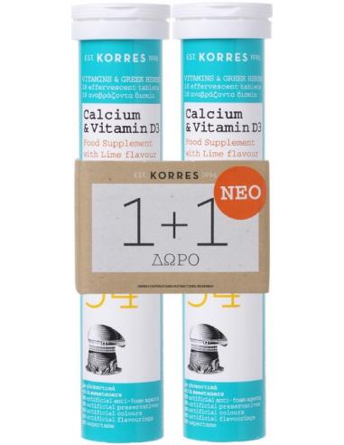 Korres Calcium & Vitamin D3, 2x18 effervescent tabs