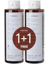 KORRES Liquorice & Urtica Shampoo για Λιπαρά μαλλιά 2x250ml (1+1 ΔΩΡΟ)