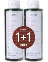 KORRES Shampoo with Cystine & Glycoproteins κατά της Τριχόπτωσης 2x250ml (1+1 ΔΩΡΟ)