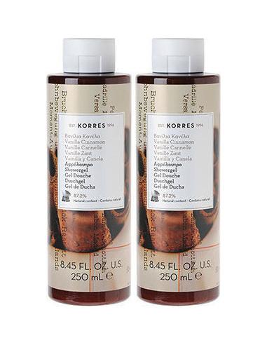 KORRES Vanilla Cinnamon Showergel, αφρόλουτρο 2x250ml (1+1 ΔΩΡΟ)