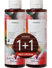 KORRES Peach Blossom Showergel, αφρόλουτρο 2x250ml (1+1 ΔΩΡΟ)