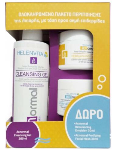 HELENVITA ACNormal Facial Set, Cleansing Gel 200ml & Rebalancing Emulsion 30ml & Purifying Facial Mask 30ml