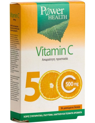 Power Health Vitamin C 500 mg, cheawable tabs, 36s
