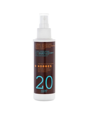 KORRES CLEAR SUNSCREEN BODY WALNUT & COCONUT SPF20 150ML