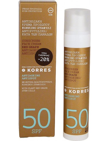 KORRES Sunscreen Face Cream Red Grape Antiageing Antispot Action 50SPF 50ml